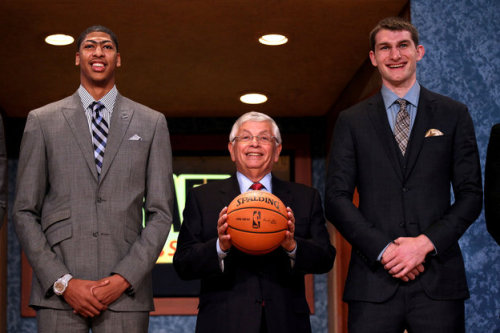 Anthony Davis from Kentucky, NBA Commissioner David Stern, and Tyler Zeller from North Carolina pose prior to the first round of the 2012 NBA Draft