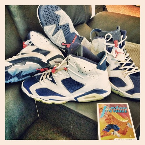 #SkeeLocker Air Jordan VI Olympic OG's vs retros that drop 7/7. For those asking, main difference is the midsole color & leather quality. Plus new ones aren't yellowed from time & don't have card! FYI ordered the OG #olympic #airjordan #VI back from Nike.com when I was 16 in 2000, been in this shoe game forever! (Taken with Instagram at Skee Lodge)