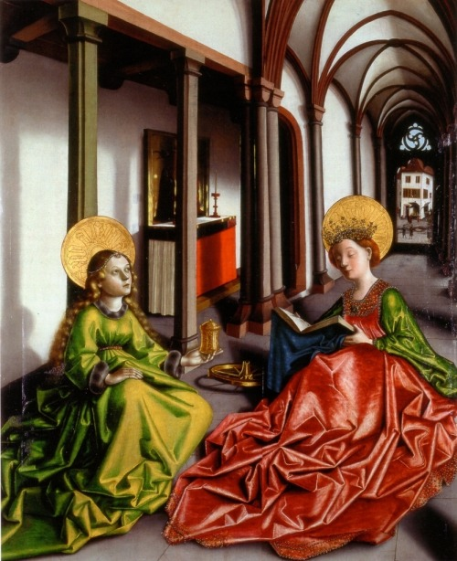 oldrags:  Saints Catherine and Mary Magdalene by Konrad Witz, ca 1440 Germany or Switzerland, Musée des Beaux-Arts (Strasbourg)