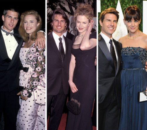 imwithkanye:  All three of Tom Cruise's wives were 33 at time of divorce. According to MSNBC:  Cruise's first wife was Mimi Rogers (born in 56), who was 31 when she wed 25-year-old Cruise in May 1987 and 33 when they broke up in 1990.Cruise then married Nicole Kidman (born in 67), 23, in December of 1990, and then separated in 2001, when Kidman was 33.Katie Holmes (born in 78), 28, and Cruise wed in 2006, seven months after daughter Suri was born. And when word came Friday that Holmes had filed for divorce, those with a sense of Cruise history noted that Holmes was also 33.