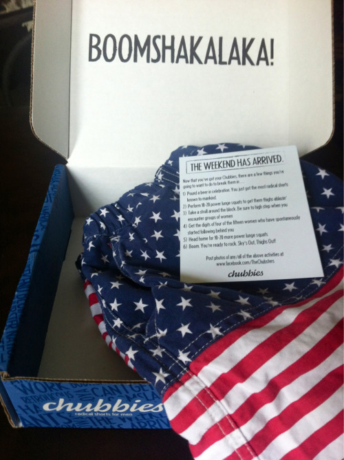 seaside-nauticalstripes:  Just arrived in the mail…sky's out, thighs out  Chubbies:)