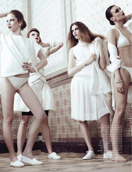 Lana Ross, Alex, Anna Baeva and Olga Tihonova | Natalia Alaverdian | Harper's Bazaar Russia July 2012 | Baths of Trajan