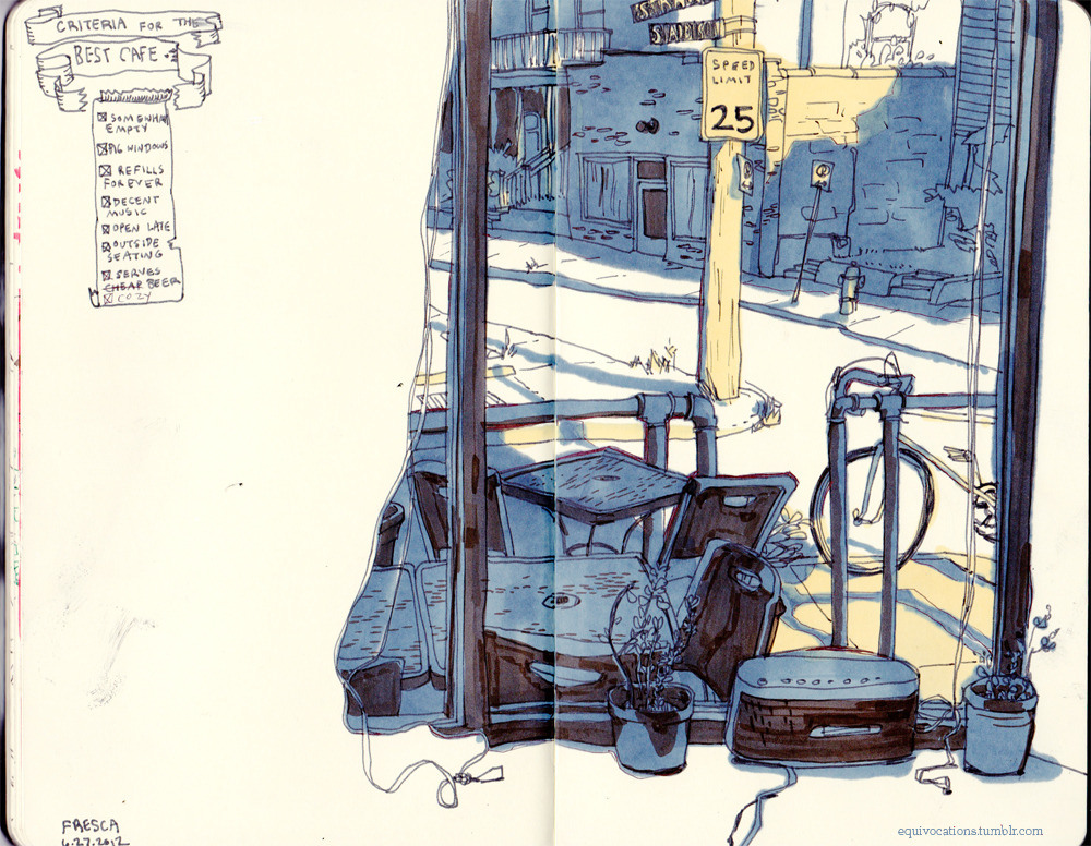 moleskinelovers:  sitting + drawing in my favorite cafe on a hot hot afternoon. good summer days.  my sketchbook tumblr!