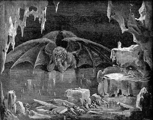 "collective-history:  Satan as depicted in the Ninth Circle of Hell in Dante Alighieri's Inferno, illustrated by Gustave Doré. Satan is the title of various entities, both human and divine, who challenge the faith of humans in the Hebrew Bible. In Christianity the title became a personal name, and ""Satan"" changed from an accuser appointed by God to test men's faith to the chief of the rebellious fallen angels. In Islam, a shayṭān is any evil creature, whether human, animal or spirit. With the definite article, the Shayṭān is Iblis, the Devil."