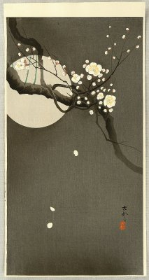 "pseuglam:  Ohara Koson, ""Flowering plum and moon"""