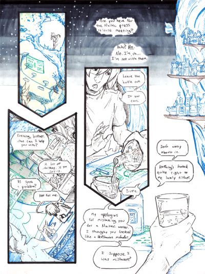 inhuman arc 10 pg 36 -inks stage- by =not-fun have some inks. doot doot doodily doo. you can't see it but panel one has a light green wash over it in the realsies, which was meant to put focus on kyo. unfortunately because of the 'hot' feel of the green, it kind of instead draws focus away. blue focuses better, and works better with the mood, but i wanted to try another colour to see what happened. it obviously didn't scan well at all. panel 1 and 2 are meant to flow together in a shape vaguely reminiscent of a bottle. and all the downturning arrows just. y'know.  the slow descent into alcoholism shut up i've been listening to the New Pornographers all day shhh other than that, furor popped into the stream and caught a big mistake with the wrist in the last 'panel' that had to be corrected - so thank you SO MUCH furor!  i still don't like the flow from the dialogue under panel 3 into 'panel' 4's dialogue, i feel like one's tempted to read it out of order. i feel like that's entirely the fault of the tail of the last panel's speech balloon. but there's a problem with pointing it any other way. if it pointed straight or down in any way, it looked like the glass was talking. if it pointed towards the right, it looked like osiah was talking. if i left it off, it seemed entirely out of place (like an internalized thought) so blarg. the real solution would have been to pre-plan better and move the tail of osiah's balloon in panel 3 to a different location - maybe the left side. HINDSIGHT. ps BOOZE BOOZE BOOZE BOOZE BOOZE see also subsection: booze (concrit is very welcome, please feel free)