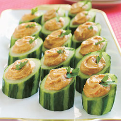 beautifulpicturesofhealthyfood:  Red-Pepper Hummus in Cucumber Cups…RECIPE