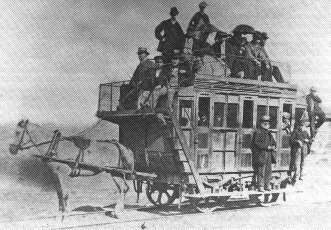 A horse train, the first passenger service transport based on the idea of the railway, leaving from Oystermouth, Wales, 1807