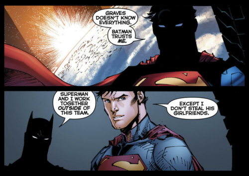 kalel:  I'd much rather be reading a series that paired an affable Superman and Batman on their own than Justice League. From Justice League #10.