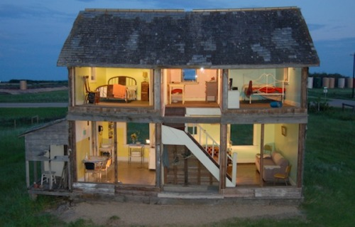 A Canadian artist turned an abandoned farmhouse into a life-sized doll house. An outside wall replaced was replaced with plexiglass. More photos of this amazing project.
