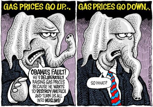 Republicans:  Gas prices up, Obama's fault.  Gas prices down, not news.
