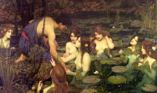 "treets:  John William Waterhouse, Hylas and the Nymphs This is my favorite Waterhouse painting, mostly because of Miss Second From The Right over there, who's so over it. She's like, ""Yeah, yeah, lure him to his doom and drown him sexily or whatever, fine. Ugh, this new deep conditioner is not working. Maybe I should do a hot oil treatment."""