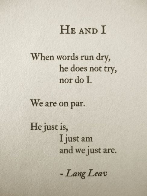 He and I by Lang Leav.