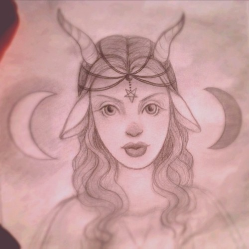 "Happy Friday!! ""sympathy for the #Devil"" #Satan #goat lady #sketch for an #art show next month - #pentagram #baphomet  (Taken with Instagram at Sketching in the sunshine)"