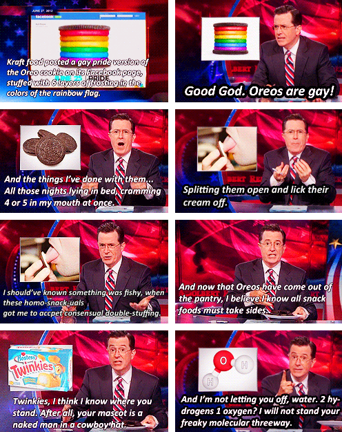 theamericankid:  Colbert on Rainbow Oreos