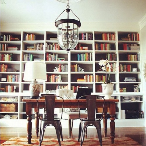 tolix chairs and books = my favorite space