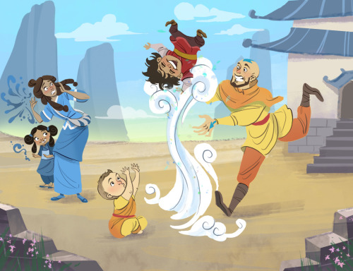 twiggymcbones:  Noooooooo, Korra season one is OVER! What will I have to nerd out about now??  Anyways, decided to channel my nerdiness into a drawing of Aang and Katara bringing wee Tenzin, Bumi, and Kya to the Southern Air temple for vacay. Tenzin gets in touch with his air bender roots!