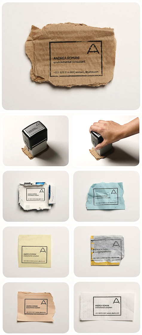 Genius: business card stamp. Use whatever scrap's nearby.  Design by Fischer Portugal.