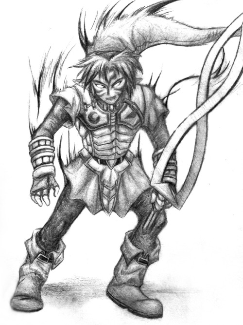Onigama Link from my old school sketchbook, referenced from a page in the Majora's Mask manga.