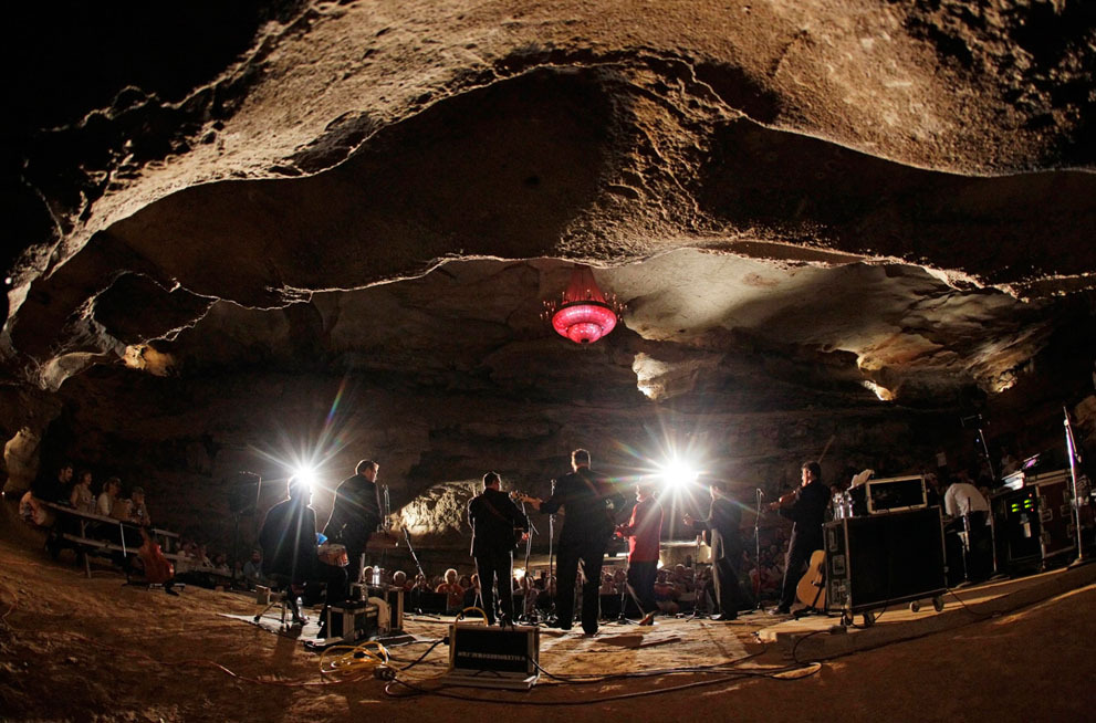 Doyle Lawson and Quicksilver perform in the Volcano Room at Cumberland Caverns, 333 feet below ground, in McMinnville, Tennessee, on July 26, 2011. The natural amphitheater is where the Bluegrass Underground radio show is broadcast from once a month.