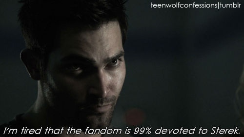 I'm tired that the fandom is 99% devoted to Sterek. Where are the fics for oh, i don't know, ALL THE OTHER PAIRINGS?! We have so many other characters and interesting pairing options—why aren't they explored? :(