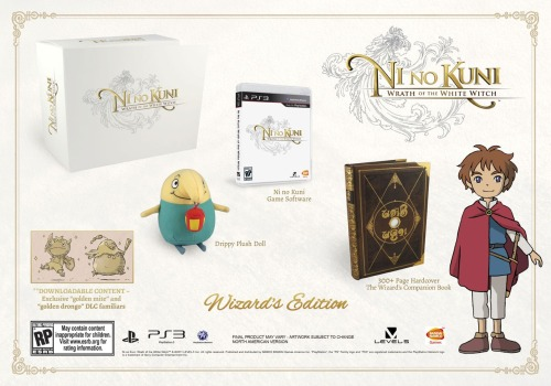 "North America Getting Ni No Kuni's ""Wizard Edition"" Europe was confirmed for the special edition, and now Bandai Namco have confirmed that it will reach North American shores as well. It comes with a Drippy plush doll, exclusive downloadable familiars to use in your party, and a hardcover art book of The Wizard's Companion Book. It's over 300 pages and it's actually the same tome used in the game for your spells and familiars! You can pre-order the edition exclusively at ClubNamco, where it will be available in January 2013 for $100."