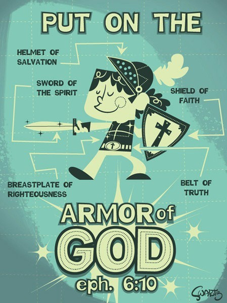 "spiritualinspiration:  ""Therefore, put on every piece of God's armor so you will be able to resist the enemy in the time of evil. Then after the battle you will still be standing firm."" (Ephesians 6:13, NLT) God has fully equipped you today with everything you need to stand strong in the midst of any battle you may be facing. He's provided His full armor to protect your heart and mind, and empower you for victory! Ephesians 6:14–17 tells us about God's spiritual armor — He's given us the belt of truth, the breastplate of righteousness, the shoes of the gospel of peace, the shield of faith which stops the fiery darts of the enemy, the helmet of salvation, and the sword of the Spirit which is the Word of God. You put on the armor by receiving the truth of His righteousness, peace, and salvation through His Word. When you do this, you are fully protected to resist the enemy and stand firm. Remember, your battle is not against flesh and blood. People aren't the enemy. Your adversary is the devil. The good news is that God holds victory in store for the upright! As you put on His armor by faith you will be positioned to receive His victory all the days of your life!"
