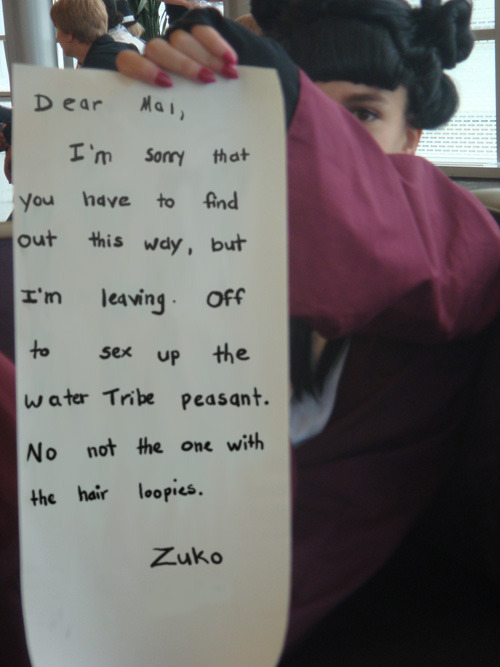 usapotterfan:  Mai's Note From Zuko by staccato