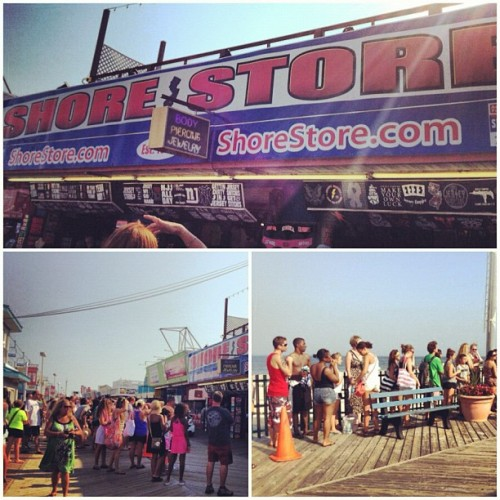 Crowds gather to outside of jersey shore store…cast of #jerseyshore #jwow #ron #snookie while they film (Taken with Instagram)