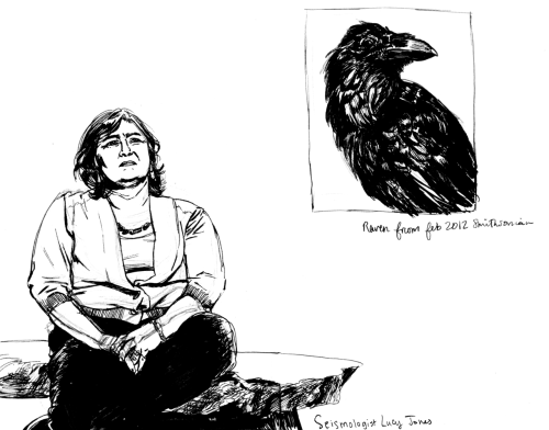 Seismologist Lucy Jones and a raven drawn from an issue of Smithsonian Magazine.