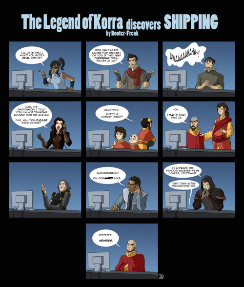 goenzogo:  Avatar: LOK Discovers Shipping! by ~Booter-Freak xD