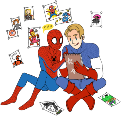 "Sometimes i remember that steve wanted to be an artist before the super soldier experiment and oh my god my kokoro. In avenging spiderman #5 spidey finds captain's old drawings and he is like ""wow these are really cool"" but steve gets really embarrased and tells spidey that his drawings are bad etc then spidey convinces cap to draw stuff again and he helps him with ideas so yeah this is my kawaii contribution to the fandom(@´_`@)"