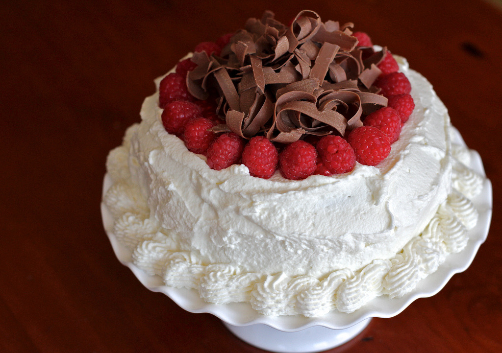 gastronomyfiles:  Chocolate cake with raspberries in Grand Marnier and cream…… (by milikin)