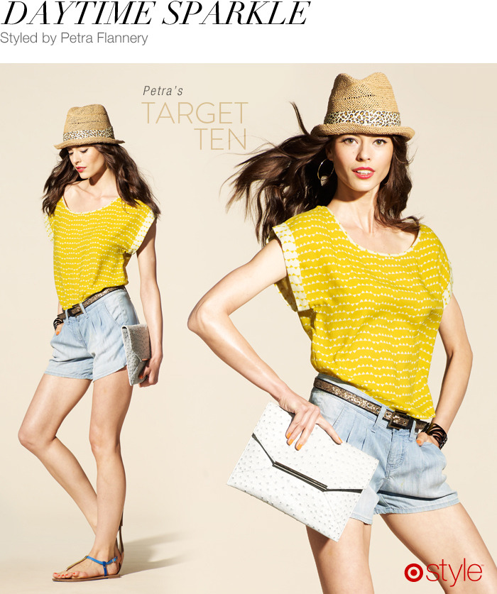 Petra Flannery's Target 10: Daytime Sparkle own it now: denim shorts. yellow top. hat. sandals. clutch. glitter belt (shop in store).