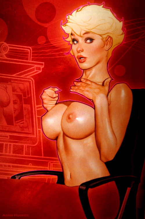Peep Culture. The Art of Adam Hughes ~ Playboy: Feruary 2009. Comic-Con. San Diego. 2012. My Hotel Room: My Desk.