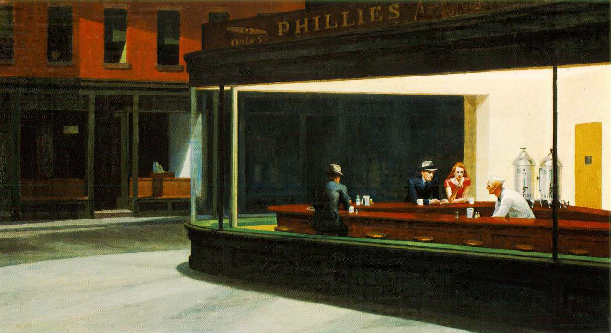 thesludgefeast:  Edward Hopper, Nighthawks, oil on canvas, 84.1 x 152.4cm, 1942
