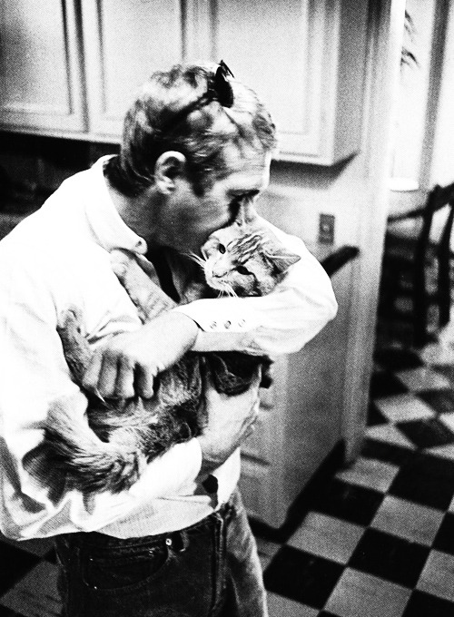 youth-cats:  Steve McQueen with his cat, photographed by William Claxton, 1963.