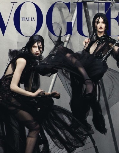 Vanessa Axente and Mackenzie Drazan photographed by Steven Meisel on Vogue Italia July 2012