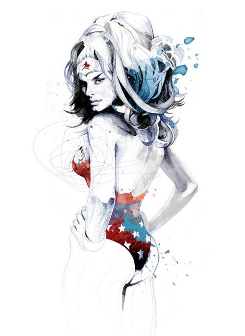 Illustration art comics wonder woman david despau