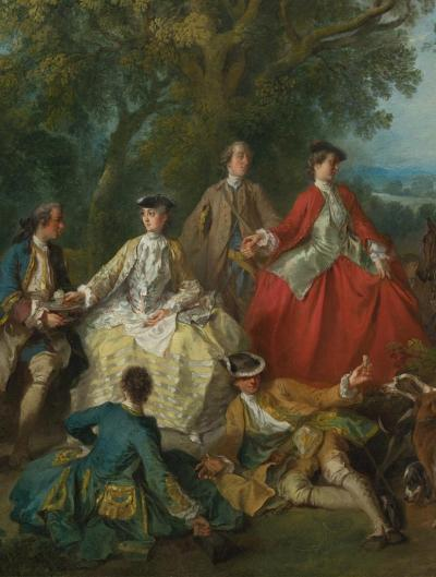 """Picnic after the Hunt"" by Lancret, c. 1740"