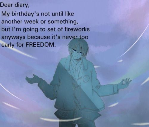 hetaliadiaries:  Dear diary, My birthday's not until like another week or something, but I'm going to set of fireworks anyways because it's never too early for FREEDOM.   Art from: http://www.pixiv.net/member.php?id=990538 Submitted Anonymously.  My hometown actually has it's own celebration on June 23 & 24. It's called Fishers Freedom Festival. I missed it this year. D,: That's the only time I would NOT want to sleep in during the summer.
