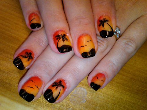 nails:  Tropical Sunset