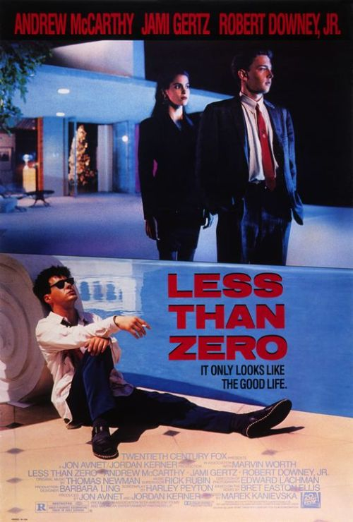 Less Than Zero (1987)  Clay, an eighteen-year-old freshman, comes back from his first term at a college in New Hampshire to spend his Christmas vacation with his broken-up wealthy family in Los Angeles. His former girlfriend, Blair, is now involved with his ex-best-friend, Julian. She warns Clay that Julian needs help: he is using a lot of cocaine and has huge debts. What follows is a look at the youth culture of wealthy post adolescents in Beverly Hills with a strong anti-drug message. Apart from the setting and the names, the film has very little to do with Bret Easton Ellis's book by the same title on which it was based.  Cast: Robert Downey Jr., Andrew McCarthy, Jami Gertz, James Spader Follow this blog for the neverending list of all the teen movies ever made!