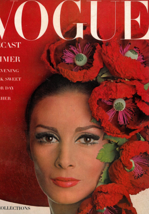Wilhemina Cooper photographed by Irving Penn for the cover of Vogue, April 1965.