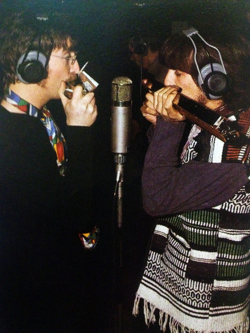 "georgeharrisons-pointynipples:  John and George put the finishing touches on the dramatic ending of ""Being For the Benefit of Mr. Kite."" 1967"