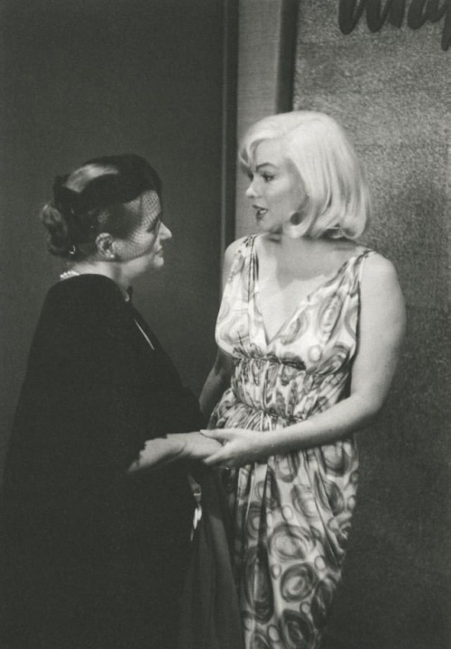 "#Marilynettes ~ Marilyn Monroe with Paula Strasberg during the dinner celebrating the beginning of filming ""The Misfits."" [July 24, 1960 by Inge Morath]"