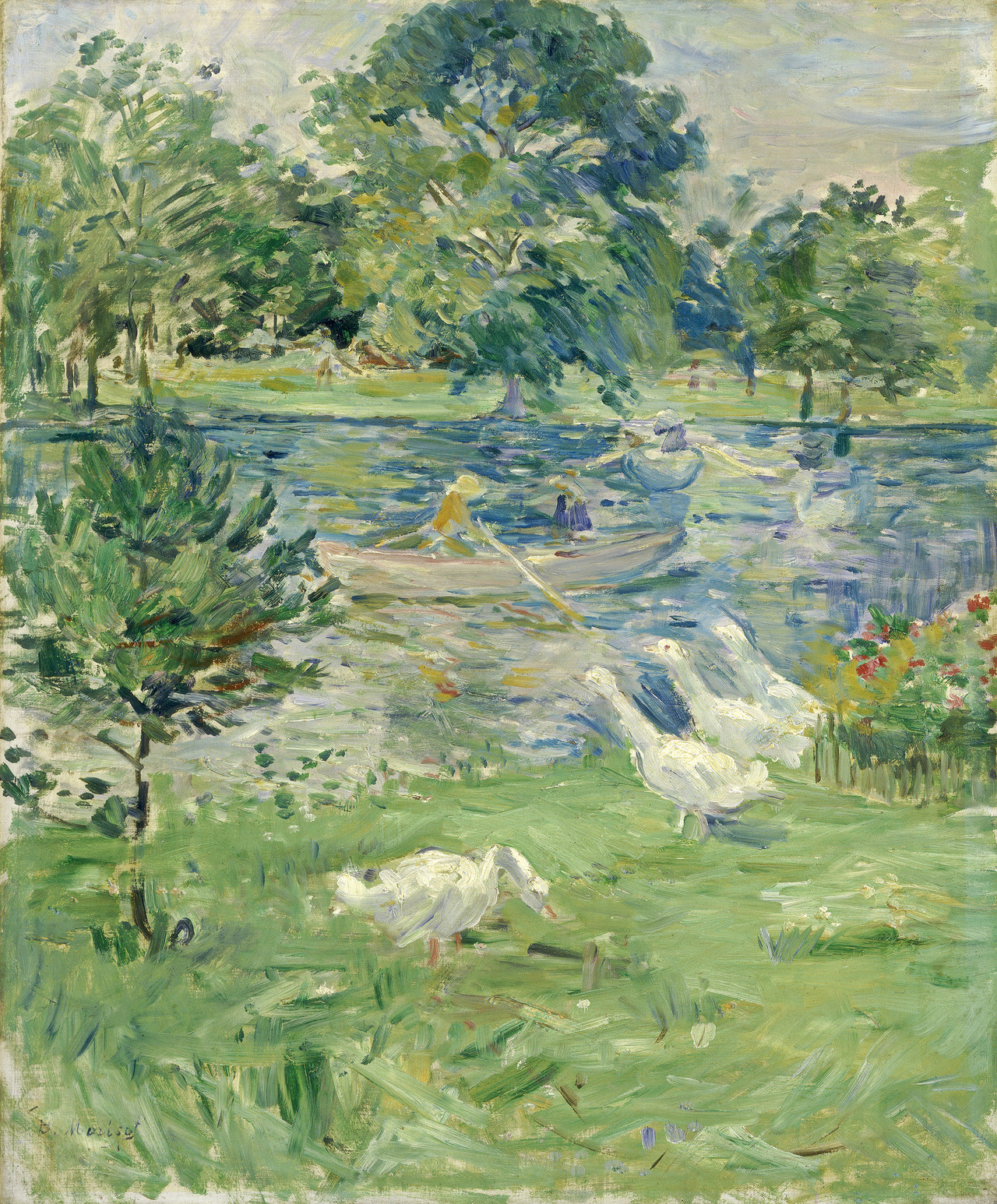 Berthe Morisot - Girl in a Boat with Geese, 1889. Oil on canvas
