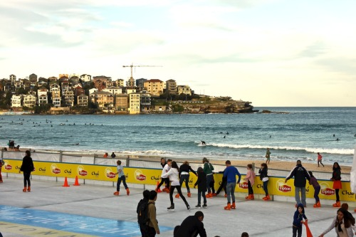 ' Ice skating and surfing at the same time, Bondi beach '