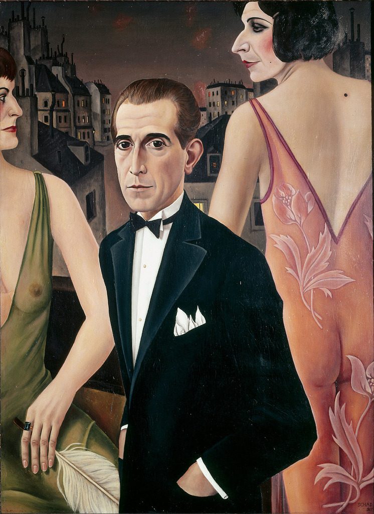 artpedia:  Christian Schad - Count St Genois d'Anneaucourt, 1927. Oil on canvas   The Count St Genois d'Anneaucourt was a well-known figure in Viennese society, where Schad (German, 1894-1982) had family connections. St. Genois d'Anneaucourt was known partly for being an aristocrat and diplomat, and partly for being the object of great speculation about where his sexual preferences lay. He never said, so Schad portrays the Count elegantly dressed in evening clothes here, looking somewhat trapped while standing before two figures garbed in sheer gowns. They eye each other as if rivals for his attention, one a rather severe and mannish woman (identified as Baroness Glasen, for whom the Count often served as a male escort), the other a transvestite. Schad has put a rather smug expression on the transvestite's face, but that was merely a guess on the artist's part.