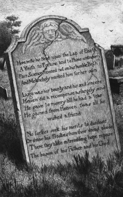 funeral-wreaths:  Illustration of the epitaph from Thomas Gray's poem 'Elegy written in a Country Churchyard', written c. 1742-50 {Source}